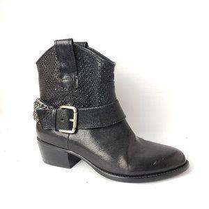 BCBGeneration Biker Buckle Leather Boots Black 6